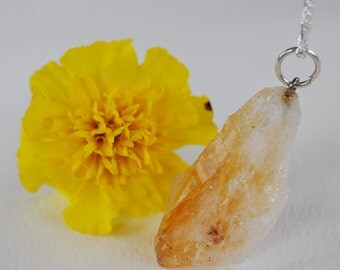 Gold and white Citrine stone pendant necklace on Sterling Silver chain simple, boho, minimalist