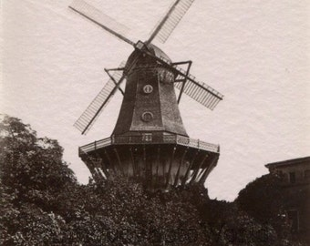 Potsdam Germany windmill antique albumen photo