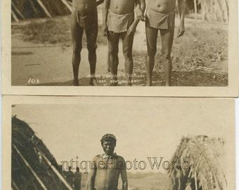 Columbia Native American Indian men 2 antique ethnic photos