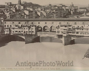 Florence Italy Ponte Vecchio antique albumen photo by Brogi