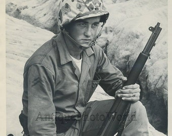 Young soldier  with rifle vintage military photo Korea