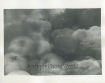 Apples in clouds vintage double exposure art photo