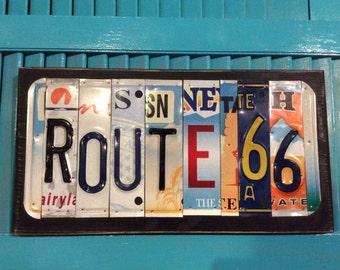 License Plate Sign License Plate letter Art Picture Home Deco ROUTE 66 License Plate Letter Sign License Plate Art