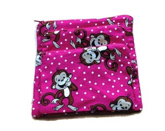 Reusable Sandwich Snack Bags set of 3 Zipper Bright Pink  White Dots Brown Monkeys
