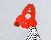 Retro Spaceship Coat Rack / Space Rocket Towel Hook / Colorful Nursery Wall Art / Boys Wall Decor