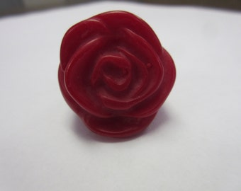 Big Vintage Lucite Rose Ring