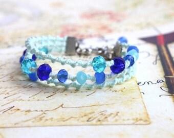 Mint Blue Bracelet, Bohemian Macrame Bracelet, Crystal Beads Bracelet