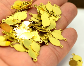 100 Pieces Raw Brass 8x16 mm Oval 2 Hole Findings