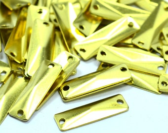 60 Pcs Raw Brass  6x19 mm Rectangular 2 Hole Findings