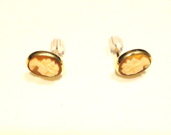 Gold Filled Cameo EArrings Pierced Post