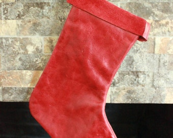 Red Leather Christmas Stocking - 100% Hand Made in the USA. Monogramming Available.
