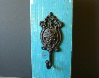 Distressed Hand painted wood and Iron hook rack.