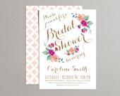 Printable Bridal Shower Invitation - Vintage Floral Invitation - Hot Pink, Peach & Coral Flowers