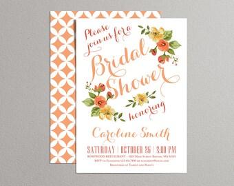 Printable Bridal Shower Invitation - Autumn Bridal Shower - Fall Bridal Shower