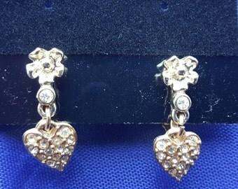 Vintage Sarah Coventry Rhinestone Heart Clip On Earrings