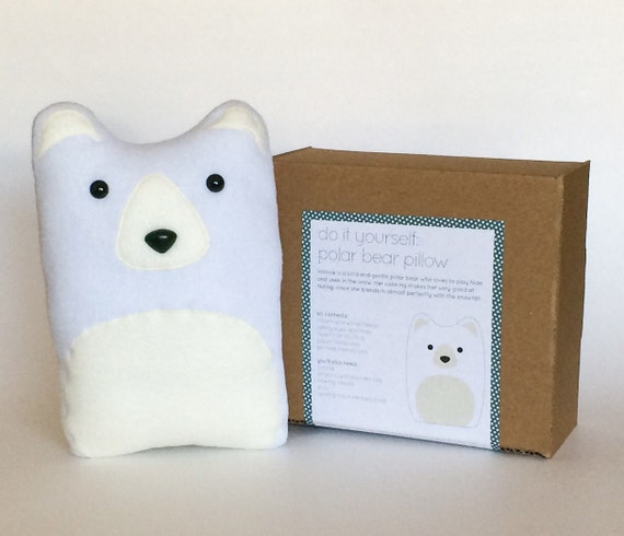 Plush Craft Animal Friends Pillow Kit : DIY Kit Polar Bear Pillow Plush Fleece Fabric Animal Plushie