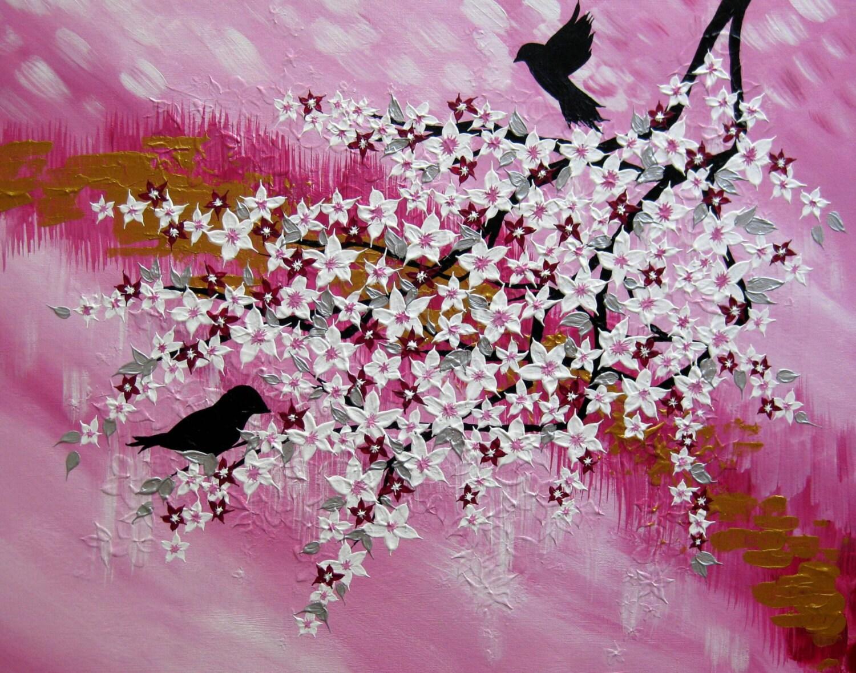 fleur de cerisier arbre peinture roses blancs japonais en