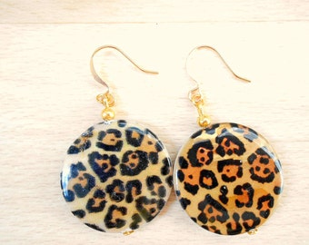 Leopard Earring - Leopard Print Earrings - Seashell Earring - Sea Shell Jewelry - Animal Print Jewelry - Animal Jewellery