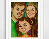 Custom Caricature Gift Hand Painted Art from photo personalized portrait character acrylic painting made to order