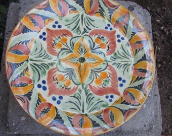 Mexican Pottery Talavera Decorative Plate Charger Large Heavy