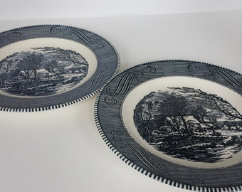 Royal China Currier and Ives Dinner Plates Jeanette - Pair