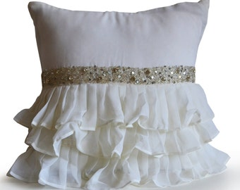 Decorative Throw Pillow,Accent Pillow,Ivory Crystal Rhinestone Ruffled Pillow,Wedding Gift, DIY Valentine Gift, Luxury Valentines Day Gifts