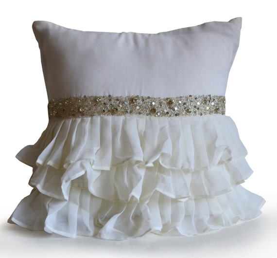 Decorative Throw Pillow Cover Ruffle Toss Accent Pillow