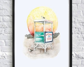 Ocean City Lifeguard stand at sunset watercolor print (customizable!)