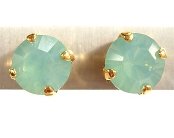 SoHo® pierce earrings Pacific Opal machine cut crystals gold 18 carat gold-plated turquoise sea vacation