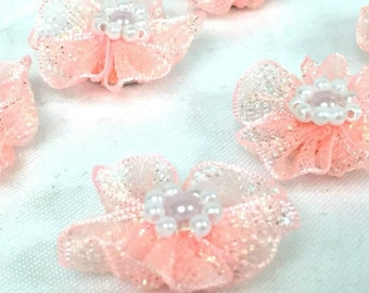 12 Organza Glittered Flowers with Pearls Craft Party Supplies