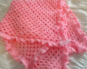 PINK Handmade Crocheted Baby Blanket with Ribbon and Ruffle