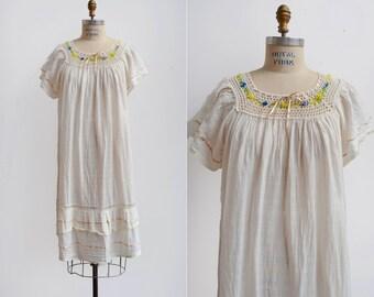 SALE Moon Meadow Dress / 1970s cotton gauze chemise / vintage cotton nightgown