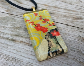 Red and Gold glass tile pendant made with Japanese chiyogami paper