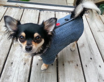Upcycled fleece lined denim jacket for small dog - 7-9 lbs (see measurements for exact size)