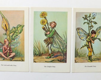 Three Cicely Mary Barker Prints, Flower Fairies Pictures, nursery decor, Groundsel Fairy, Coltsfoot Fairy, Lords-and-Ladies Fairy