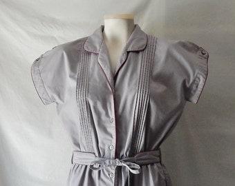 Sz Gray10 12  Cotton Dress - Full Skirt - Shirtdress - Knee Length - Wear to Work - Office