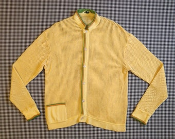 1960's, mesh knit, cardigan, in buttercup yellow, by Eminence, Women's size Medium