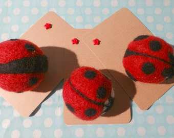 Ladybird brooches: mad about spots? Needle felted jewellery