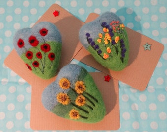 Flower Gardens: needle felted brooches - poppies, sunflowers, delphiniums and roses