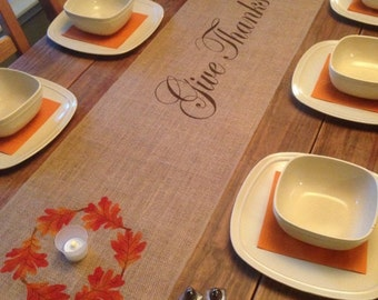 """Burlap Table Runner  12"""", 14"""" or 15"""" wide with Give Thanks & a leaf border - Longer - Holiday decorating Fall runner Thanksgiving decorating"""