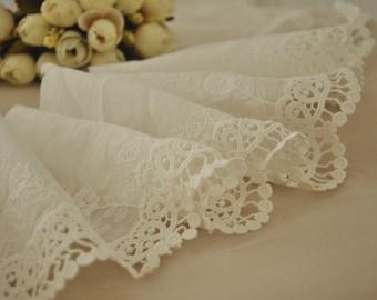 cotton lace trim, scalloped ivory lace trim
