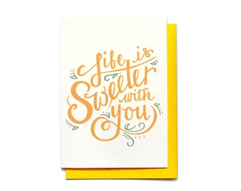 Love Card - Life Is Sweeter With You - Anniversary Card - Valentine Card Friend - Valentine Card - Valentines Day Card - LV3