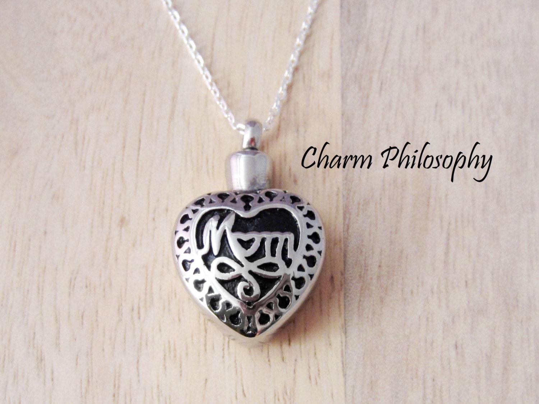 mom memorial necklace hollow heart pendant keepsake. Black Bedroom Furniture Sets. Home Design Ideas