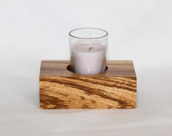 FREE Shipping in US - Zebrawood Single Candle Holder