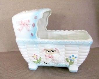 Vintage Baby Planter, 1950's Rubens Ceramic Cradle Planter, Musical Baby Planter, Girl Nursery Decor, Vintage Baby Gift, Mid Century Decor