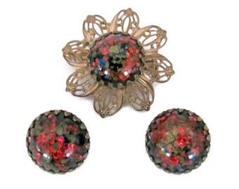 Vintage Red Brooch, Earrings Set, 1960's Lucite Flower Brooch, Pin, Clip On Earrings, Red Lucite Flower, 1960's Brooch, Earrings