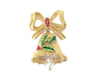 Vintage Christmas Brooch, 1960's Corel Christmas Bell Brooch, Gold Bell Brooch, Pin, Holiday, Christmas Jewelry, 1960's Christmas