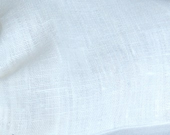 White softened linen fabric, organic flax fabric, natural linen fabric, pure linen fabric by the meter, soft white linen fabric by the yard