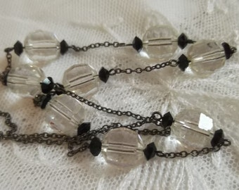 Vintage Art Deco 1930s Clear & Black Crystal Glass Bead Necklace Silver Chain