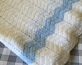 Vintage Blue and White Hand Crocheted Baby Blanket